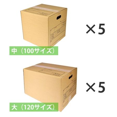 引越しダンボールセット 1人用(記入欄・持ち手穴付 段ボール10枚)