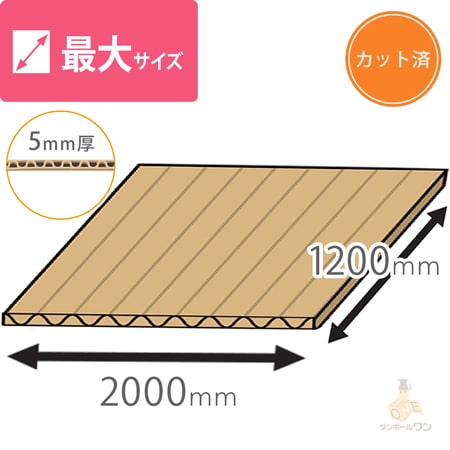 【法人専用】板ダンボール(長さ2000mm×幅1200mm)5mm厚