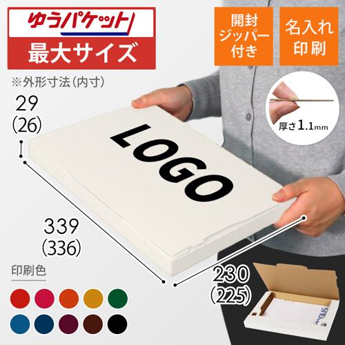 【名入れ印刷】A4厚さ3cm・ジッパー付きケース・白(ゆうパケット最大)