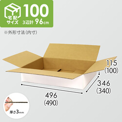 【宅配100サイズ】白ダンボール箱 薄型(490×340×100mm)