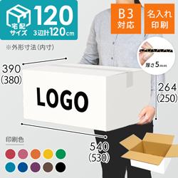 【名入れ印刷】宅配120サイズ ダンボール箱・白(底面B3)