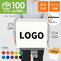 【名入れ印刷】宅配100サイズ ダンボール箱・白(底面B4)