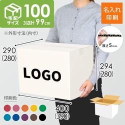 【名入れ印刷】宅配100サイズ ダンボール箱・白(3辺計99cm)