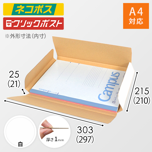 【ネコポス・クリックポスト】A4厚さ2.5cm・ヤッコ型ケース(白)