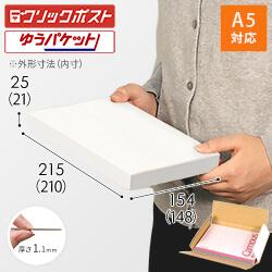 【クリックポスト・ゆうパケット】A5厚さ2.5cm・ヤッコ型ケース(白)