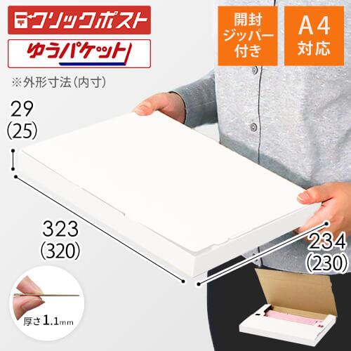 【クリックポスト・ゆうパケット】A4厚さ3cm・ジッパー付ケース(白)