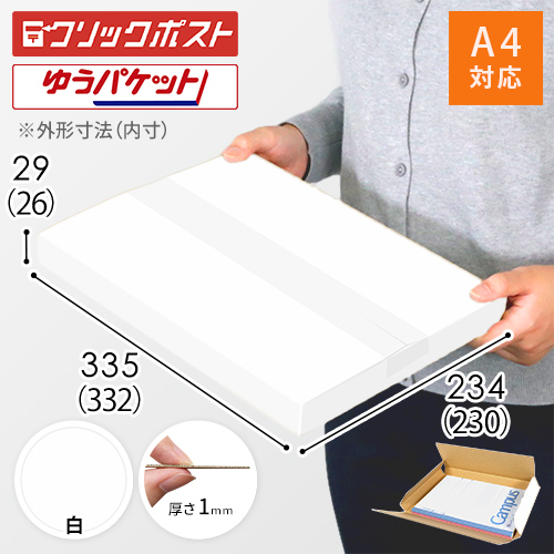 【クリックポスト・ゆうパケット最大】A4厚さ3cm・ヤッコ型ケース(白)