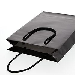 手提げ紙袋(黒・ツヤ有り)幅225×マチ80×高さ320mm