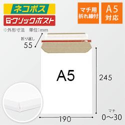 【ネコポス・クリックポスト】A5・厚紙封筒/マチ付き(開封ジッパー付き)