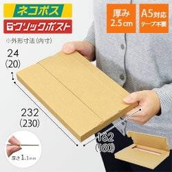 【ネコポス・クリックポスト】A5厚さ2.5cm・テープレスケース